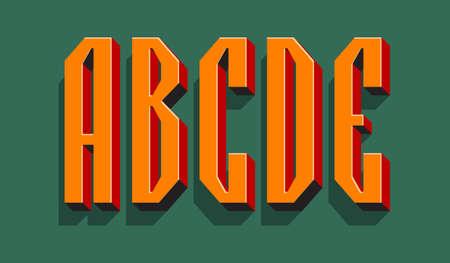 A, B, C, D, E orange red black 3d letters with shadow. Volumetric display font. 矢量图像