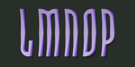 L, M, N, O, P cartoon high purple 3d letters. Volumetric display font.
