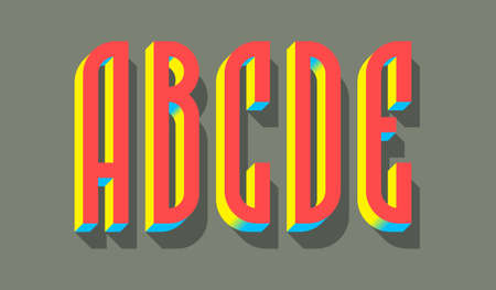 A, B, C, D, E red blue yellow 3d letters with shadow. Volumetric display font. 矢量图像