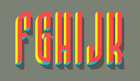 F, G, H, I, J, K red blue yellow 3d letters with shadow. Volumetric display font.