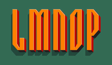 L, M, N, O, P orange red black 3d letters with shadow. Volumetric display font.
