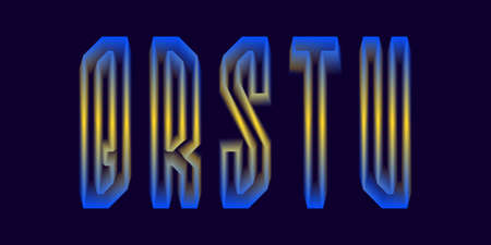 Q, R, S, T, U luminous yellow blue 3d letters. Glowing display font.