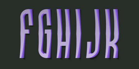 F, G, H, I, J, K cartoon high purple 3d letters. Volumetric display font.