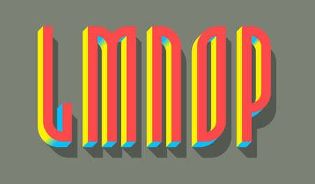 L, M, N, O, P red blue yellow 3d letters with shadow. Volumetric display font. 矢量图像