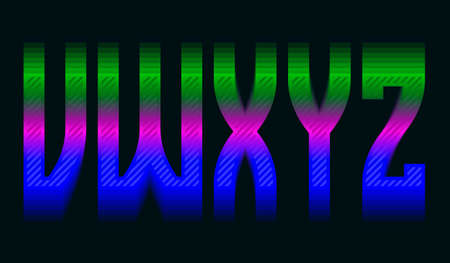 V, W, X, Y, Z iridescent vibrant letters. Colorful display font.