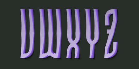 V, W, X, Y, Z cartoon high purple 3d letters. Volumetric display font.