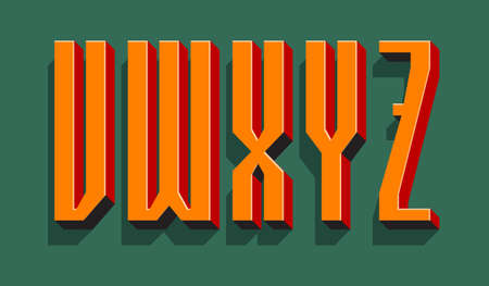 V, W, X, Y, Z orange red black 3d letters with shadow. Volumetric display font.
