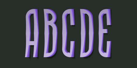 A, B, C, D, E cartoon high purple 3d letters. Volumetric display font.