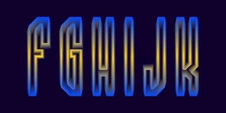 F, G, H, I, J, K luminous yellow blue 3d letters. Glowing display font. 矢量图像