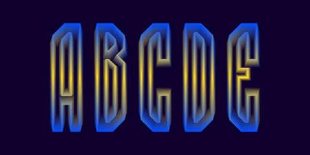 A, B, C, D, E luminous yellow blue 3d letters. Glowing display font. 矢量图像
