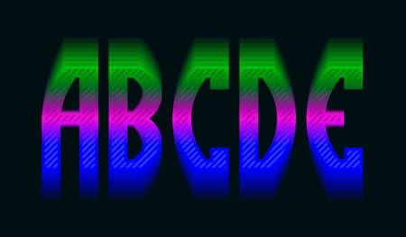 A, B, C, D, E iridescent vibrant letters. Colorful display font. 矢量图像