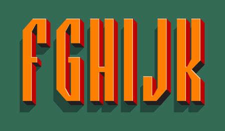 F, G, H, I, J, K orange red black 3d letters with shadow. Volumetric display font. 矢量图像