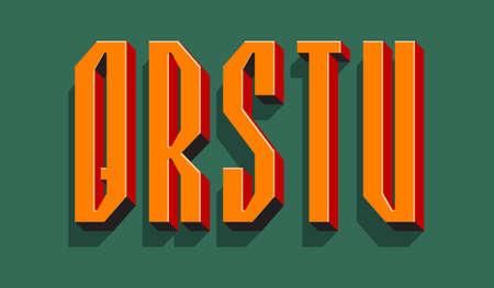 Q, R, S, T, U orange red black 3d letters with shadow. Volumetric display font. 矢量图像