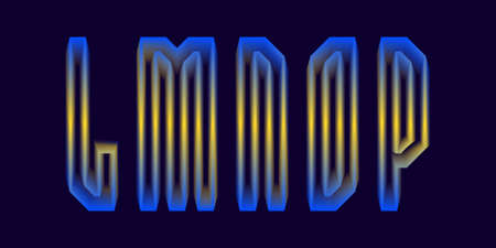 L, M, N, O, P luminous yellow blue 3d letters. Glowing display font.