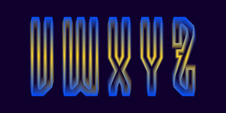 V, W, X, Y, Z luminous yellow blue 3d letters. Glowing display font.