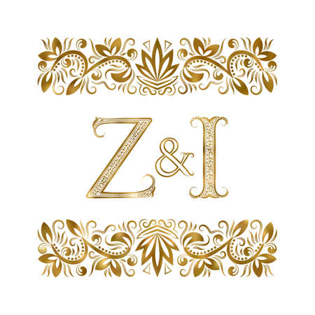 Z and I initials vintage . The letters surrounded by ornamental elements. Wedding or business partners monogram in royal style.