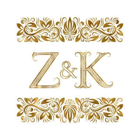 Z and K initials vintage . The letters surrounded by ornamental elements. Wedding or business partners monogram in royal style.