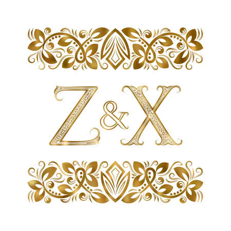 Z and X vintage . The letters surrounded by ornamental elements. Wedding or business partners initials.