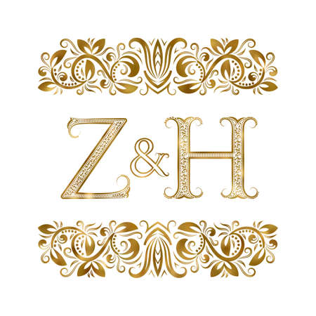 Z and H initials vintage . The letters surrounded by ornamental elements. Wedding or business partners monogram in royal style.