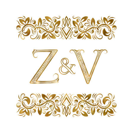 Z and V vintage . The letters surrounded by ornamental elements. Wedding or business partners initials. 免版税图像 - 164384612