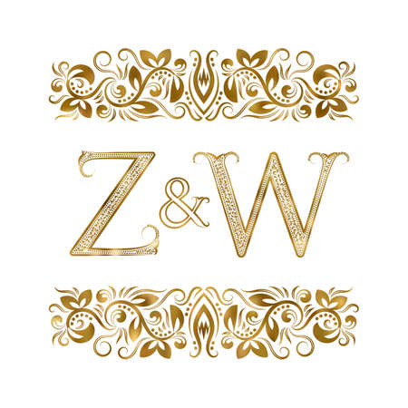 Z and W vintage . The letters surrounded by ornamental elements. Wedding or business partners initials.