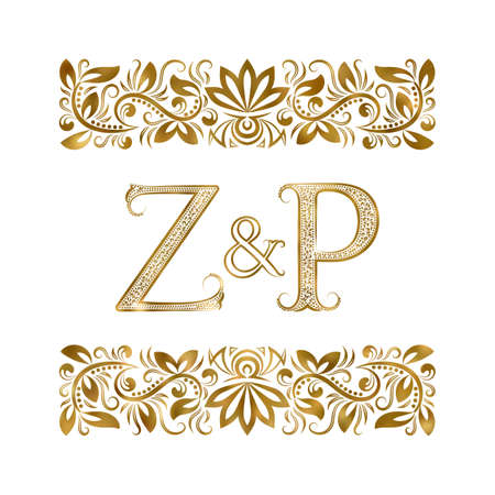 Z and P initials vintage . The letters surrounded by ornamental elements. Wedding or business partners monogram in royal style.