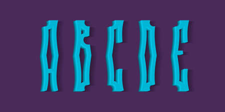 A, B, C, D, E crooked blue 3d letters with shadow. Volumetric display font.