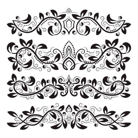 Design ornamental elements. Vintage headline decorations set. Floral tattoo in baroque style. 免版税图像 - 164657979