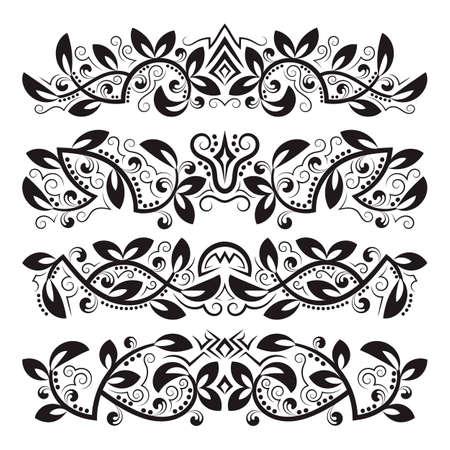 Design ornamental elements. Vintage headline decorations set. Floral tattoo in baroque style. 矢量图像
