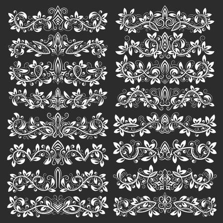 Design ornamental elements. Vintage headline decorations big set. Floral tattoo in vintage baroque style. 矢量图像