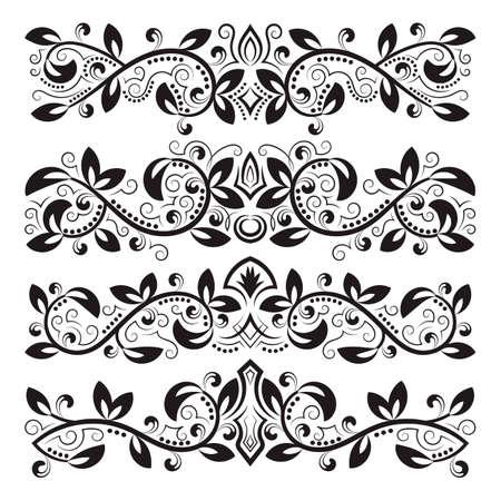 Design ornamental elements. Vintage headline decorations set. Floral tattoo in baroque style. 免版税图像 - 164657986