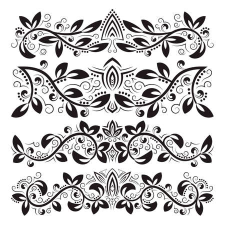 Design ornamental elements. Vintage headline decorations set. Floral tattoo in baroque style. 免版税图像 - 164657989