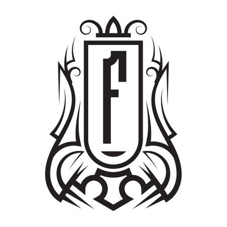Tribal monogram design with letter F. Gothic emblem, knightly sign, vintage initial label template. Tattoo logo design. Logó