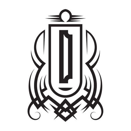 Tribal monogram design with letter D. Gothic emblem, knightly sign, vintage initial label template. Tattoo logo design.