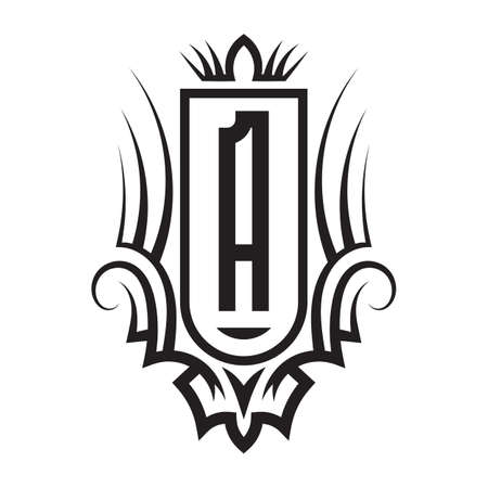 Tribal monogram design with letter A. Gothic emblem, knightly sign, vintage initial label template. Tattoo logo design.