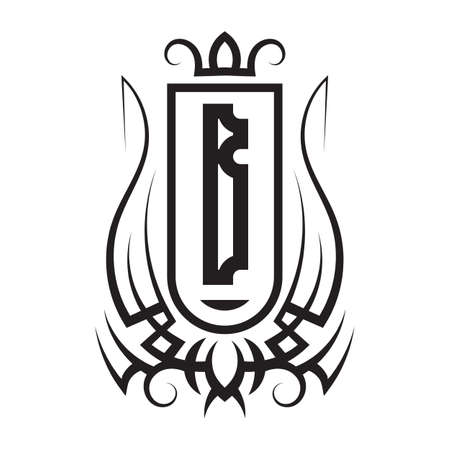 Tribal monogram design with letter B. Gothic emblem, knightly sign, vintage initial label template. Tattoo logo design.