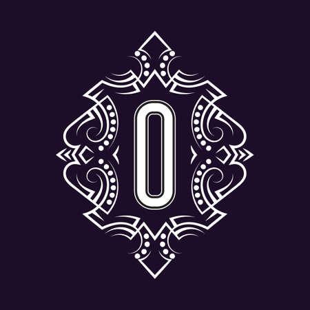 Elegant monogram design with letter O. Business emblem, glamour badge, vintage initial label template. 矢量图像