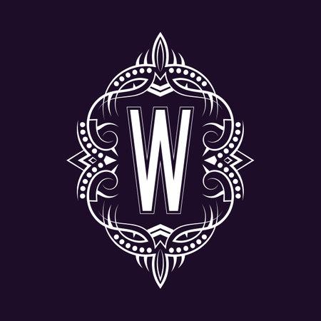 Elegant monogram design with letter W. Business emblem, glamour badge, vintage initial label template.