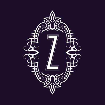 Elegant monogram design with letter Z. Business emblem, glamour badge, vintage initial label template.
