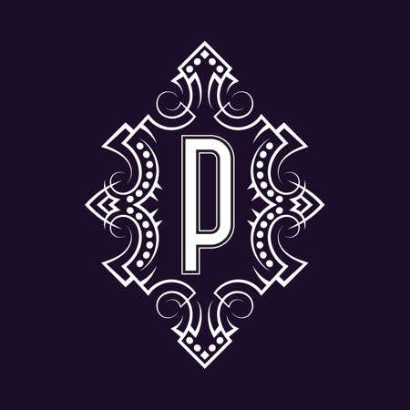 Elegant monogram design with letter P. Business emblem, glamour badge, vintage initial label template.