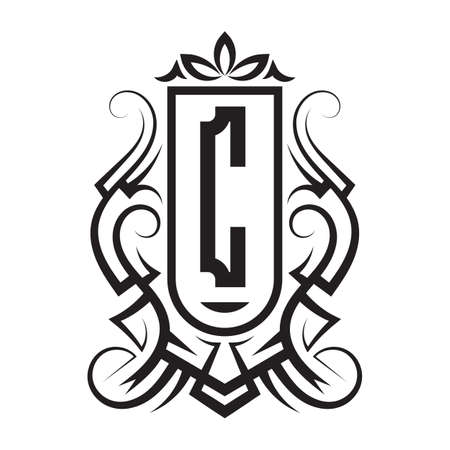 Tribal monogram design with letter C. Gothic emblem, knightly sign, vintage initial label template. Tattoo logo design.