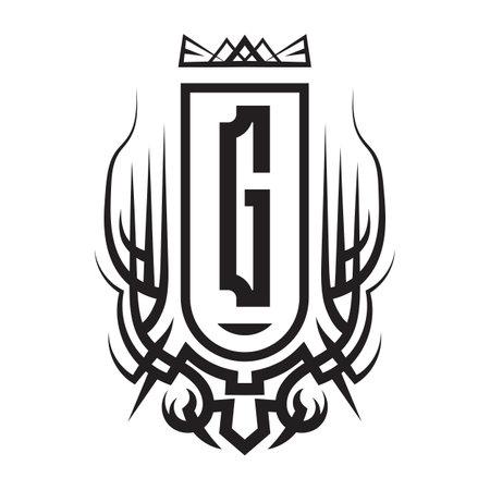 Tribal monogram design with letter G. Gothic emblem, knightly sign, vintage initial label template. Tattoo logo design. Logó