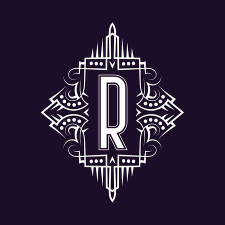 Elegant monogram design with letter R. Business emblem, glamour badge, vintage initial label template.