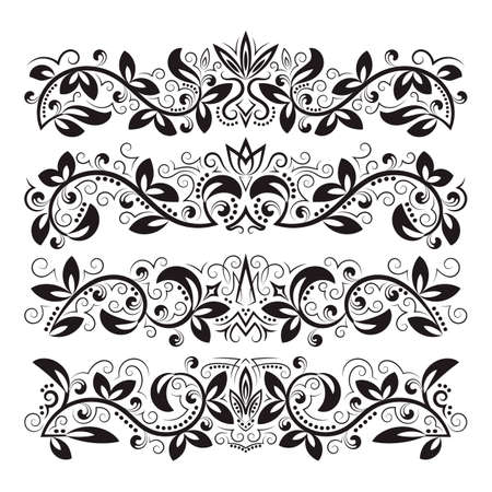 Design ornamental elements. Vintage headline decorations set. Floral tattoo in baroque style. 免版税图像 - 164121412