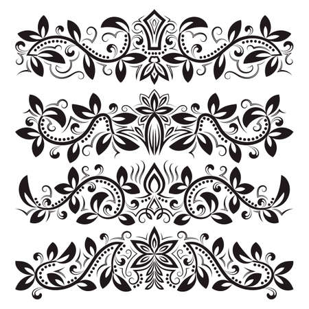 Design ornamental elements. Vintage headline decorations set. Floral tattoo in baroque style. 免版税图像 - 164056940