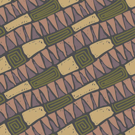 Modern hipster seamless pattern. Grunge style textile texture. Doodle vector background, abstract cartoon wrapping design.
