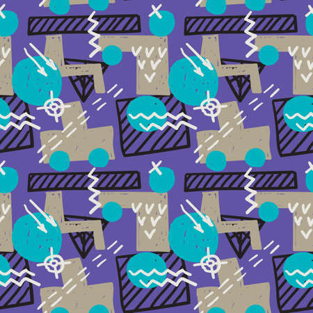 Memphis style seamless pattern. Grunge vector texture. Childish style design with geometric shapes and sketched lines. 矢量图像