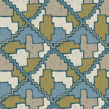 Colored painting seamless pattern. Grunge vector texture. Street style design with geometric shapes and sketched lines.