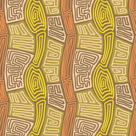 Abstract painting vector seamless pattern, primitive textile design. Warm color mazed ornament. Grunge african style wallpaper. 免版税图像 - 164755473