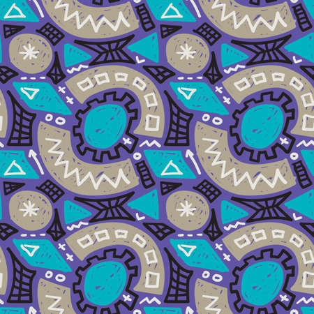 Modern childish seamless pattern. Grunge style textile texture. Doodle vector background, abstract cartoon wrapping design. 矢量图像